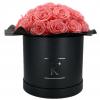 Gorgeous Rosenbox schwarz, pinke Rosen, Ansicht von vorne