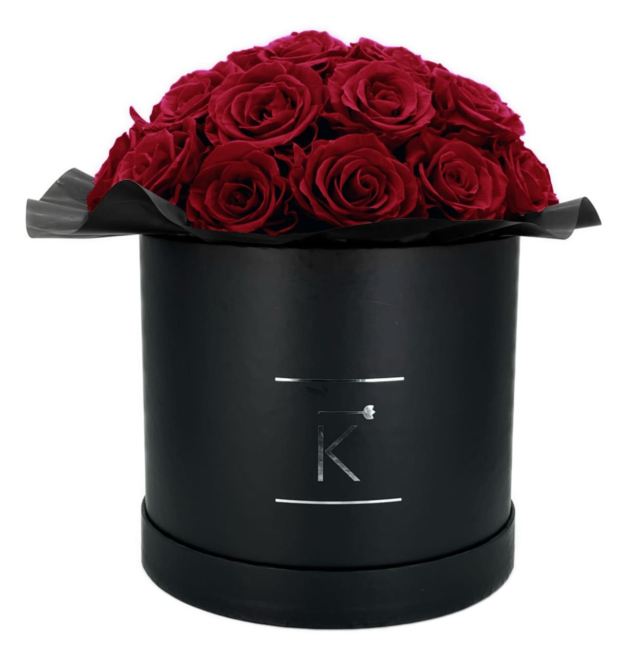 Gorgeous Rosenbox schwarz, dunkelrote Rosen, Ansicht von vorne