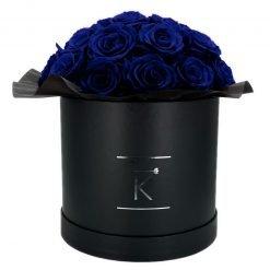 Gorgeous Rosenbox schwarz, blaue Rosen, Ansicht von vorne