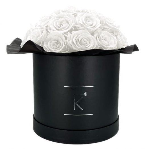 Gorgeous Rosenbox schwarz, weiße Rosen, Ansicht von vorne