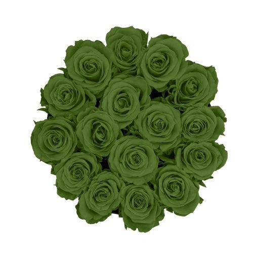 Rosenbox rund und schwarz mit grünen Infinityrosen, Anischt von oben