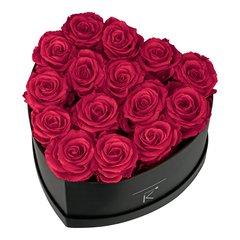 Herzförmige Rosenbox mit dunkelroten Infinityrosen