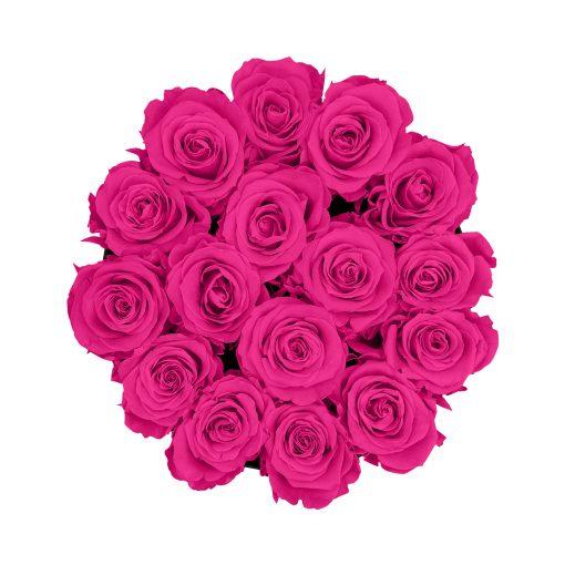 Rosenbox rund und schwarz mit purple pinken Infinityrosen, Anischt von oben
