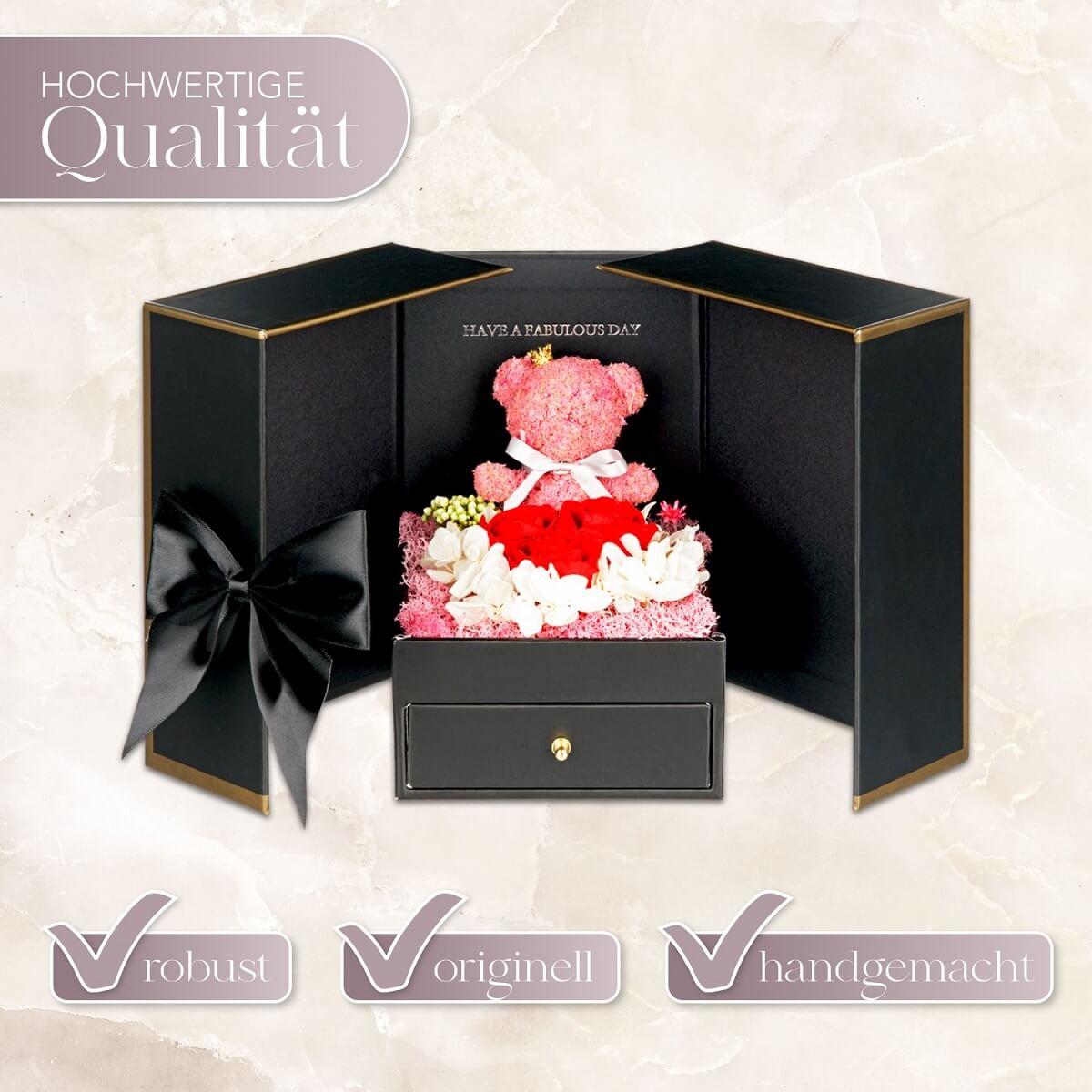 Geschenkbox mit Teddy und roten Infinityrosen