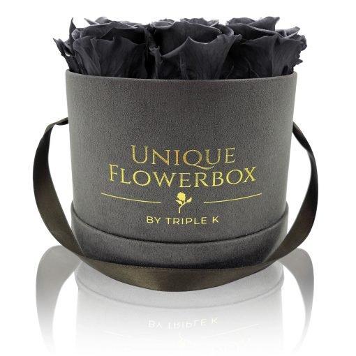 Runde Rosenbox mit schwarzen Infinityrosen, graues Samtfinish und Henkel zum Tragen