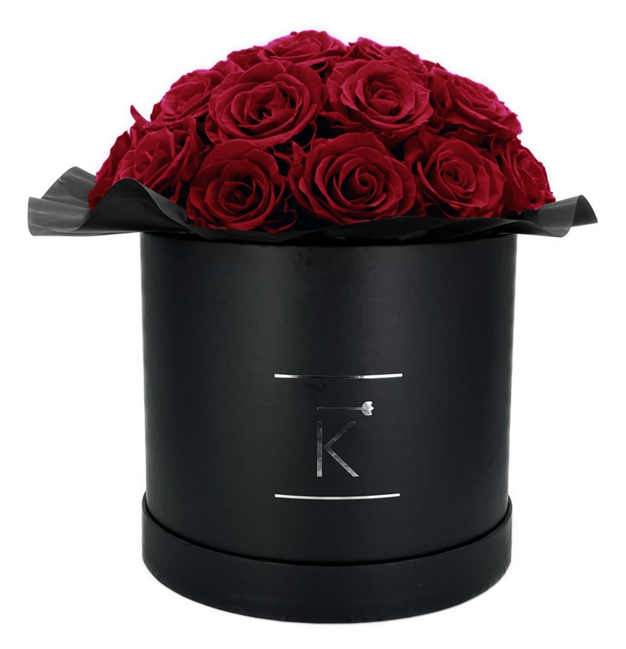 Gorgeous Infinity Rosenbox in schwarz mit dunkelroten Rosen